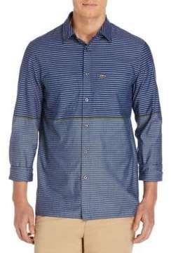 Lacoste Stripe Cotton Casual Button-Down Shirt