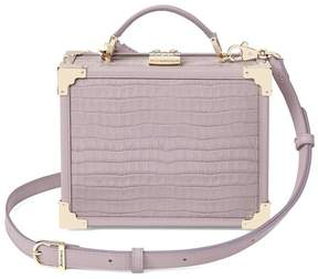Aspinal of London Mini Trunk Clutch In Deep Shine Lilac Small Croc