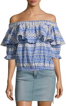 Love Sam Women's Shifli Floral Stripe Off Shoulder Top