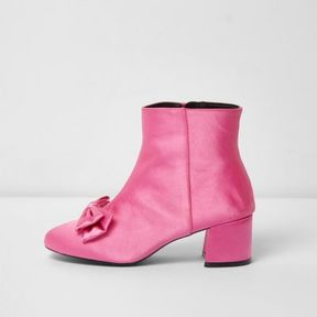 River Island Womens Bright pink bow satin block heel ankle boots