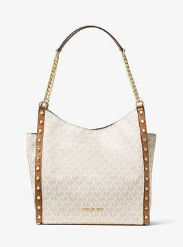 Michael Kors Newbury Studded Logo Chain Tote - NATURAL - STYLE