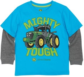 John Deere Boys 4-7x Mighty Tough Tractor Mock-Layer Tee