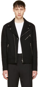 Neil Barrett Black Raw Cut Wool Biker Jacket