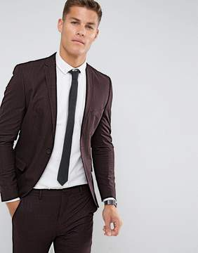 Selected Super Skinny Suit Jacket In Burgundy Check