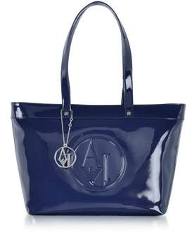 Armani Jeans Women's Blue Patent Leather Tote.