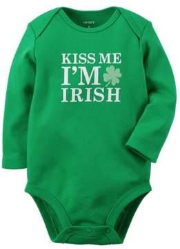 Carter's Infant Boy Girl Green Kiss Me Im Irish Bodysuit Unisex Baby Creeper 9m