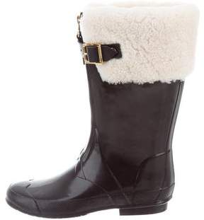 Burberry Shearling-Trimmed Rain Boots
