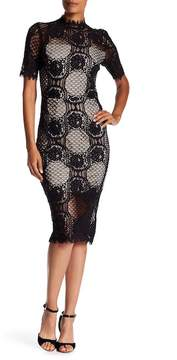 Alexia Admor Mock Neck Lace Midi Dress