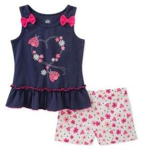 Kids Headquarters Little Girl's Two-Piece Ruffle Top and Floral Shorts Set