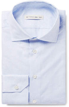 Etro Light-Blue Slim-Fit Cutaway-Collar Striped Cotton-Jacquard Shirt