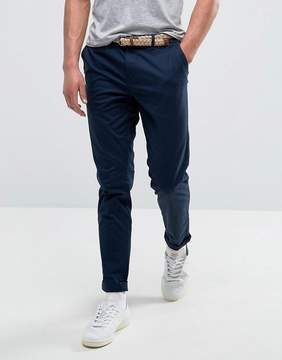 Pull&Bear Slim Chinos With Belt In Navy