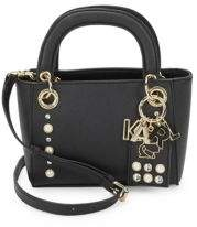 Karl Lagerfeld Embellished Faux Leather Satchel Bag