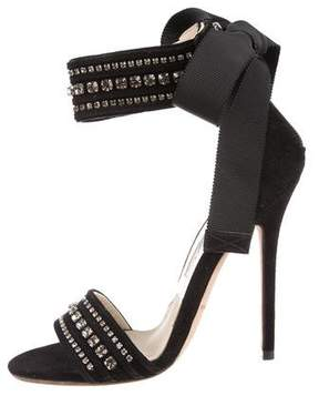 Brian Atwood Jewel-Embellished Ankle Strap Sandals