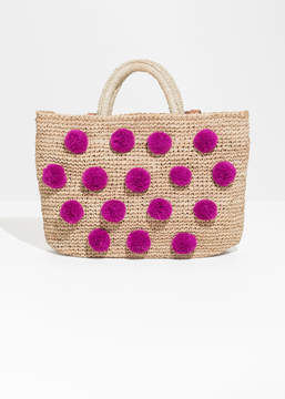 And other stories Pom Pom Woven Tote