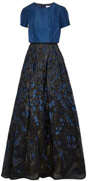 Carolina Herrera Layered Pleated Faille And Metallic Fil Coupé Gown