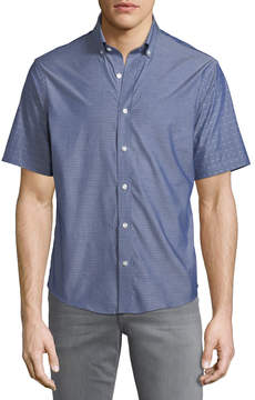 Neiman Marcus Slim-Fit Wear-It-Out Dobby Chambray Sport Shirt