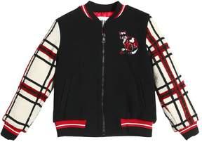 MSGM Fleece & Plaid Wool Tweed Bomber Jacket