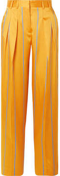 Victoria Beckham Victoria, Striped Satin-twill Wide-leg Pants - Orange