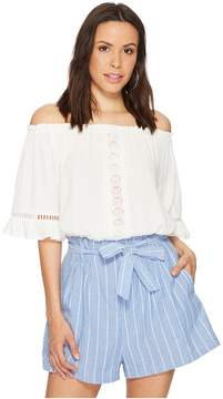 Bishop + Young Embroidered Poet Crop Top Women's Clothing