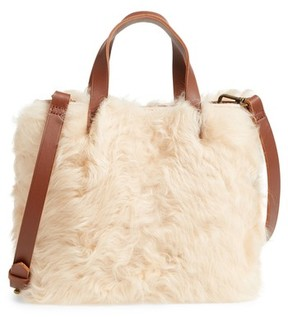 Madewell Mini Transport Genuine Shearling & Leather Crossbody Bag - White