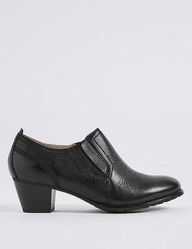 Marks and Spencer Wide Fit Leather Block Heel Shoe Boots