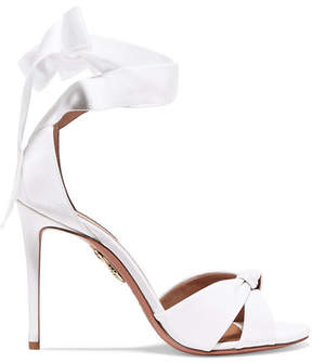 Aquazzura All Tied Up Grosgrain Sandals - White