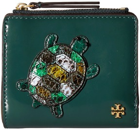 Tory Burch Turtle Burch Mini Wallet Bi-fold Wallet - MALACHITE - STYLE