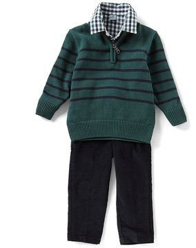 Class Club Little Boys 2T-7 Checked Button-Down Shirt, Striped Sweater, & Pants 3-Piece Set