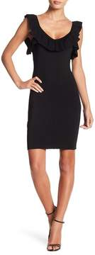 Bebe Ruffled V-Neck Bodycon Dress