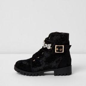 River Island Girls black crushed velvet biker boots