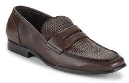 Saks Fifth Avenue Lawrence Woven Leather Penny Loafers