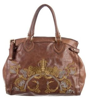 Roberto Cavalli Leather Embroidered Bag