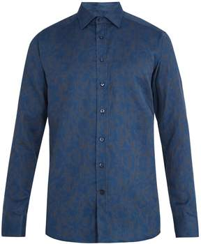 Etro Floral-jacquard single-cuff cotton shirt