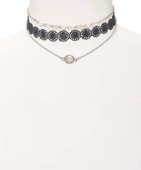 Carole Black Lace & Pink Stone Choker Necklace