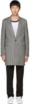 Saint Laurent Grey Chesterfield Peak Lapel Coat