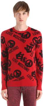 Love Moschino Logo Jacquard Cotton Knit Sweater