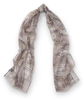 Ralph Lauren Leah Bridle-Print Wool Scarf Sterling Grey One Size