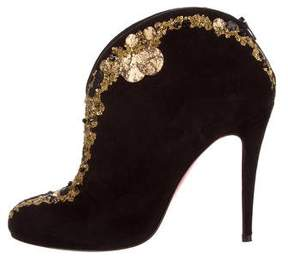 Christian Louboutin Suede Sequin-Embellished Booties