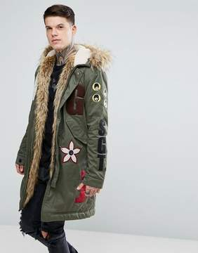 Pretty Green x The Beatles Lonely Hearts Club Parka Jacket In Green