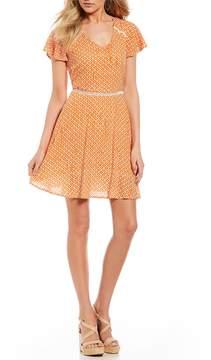 Copper Key Ikat Print Flutter Sleeve Dress