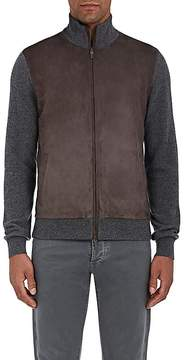 Luciano Barbera Men's Suede-Front Cashmere Zip-Front Cardigan