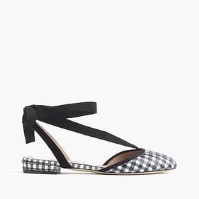 J.Crew Gingham ankle-wrap flats