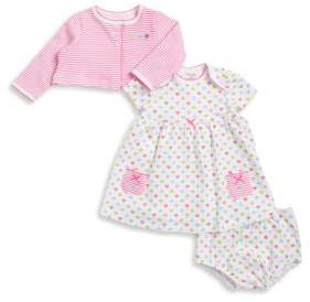 Little Me Baby's Three-Piece Heart Cotton Jacket, Dress, and Bottom Set