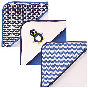 Luvable Friends Blue & White Hooded Towels - Set of Three