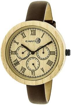 Earth Wood Brush Khaki Dial Multi-Function Ladies Watch