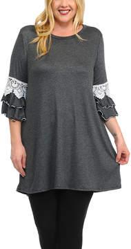 Celeste Charcoal Lace-Accent Tunic Dress - Plus