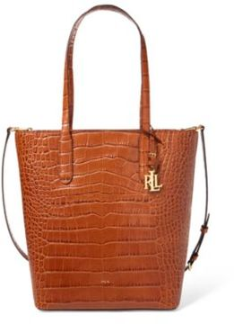 Ralph Lauren Crocodile-Embossed Alexis Tote Bourbon One Size