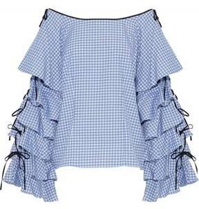 Caroline Constas Amelie Ruffled Checked Cotton-Poplin Top