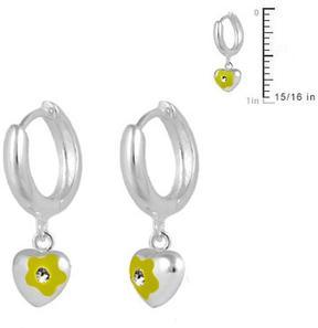 Ice Silver Flower Heart Huggie Hoop Girls' Earrings