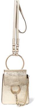 Chloé Faye Bracelet Mini Metallic Cracked-leather Shoulder Bag - Gold